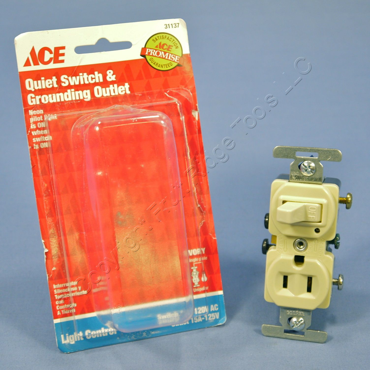Ace Combination Ivory Toggle Pilot Light Switch Amp Outlet