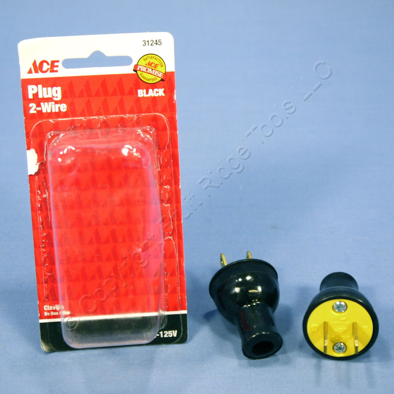 2 Ace Black Straight Blade Easy Grip Plug NEMA 1-15 15A 125V 31245