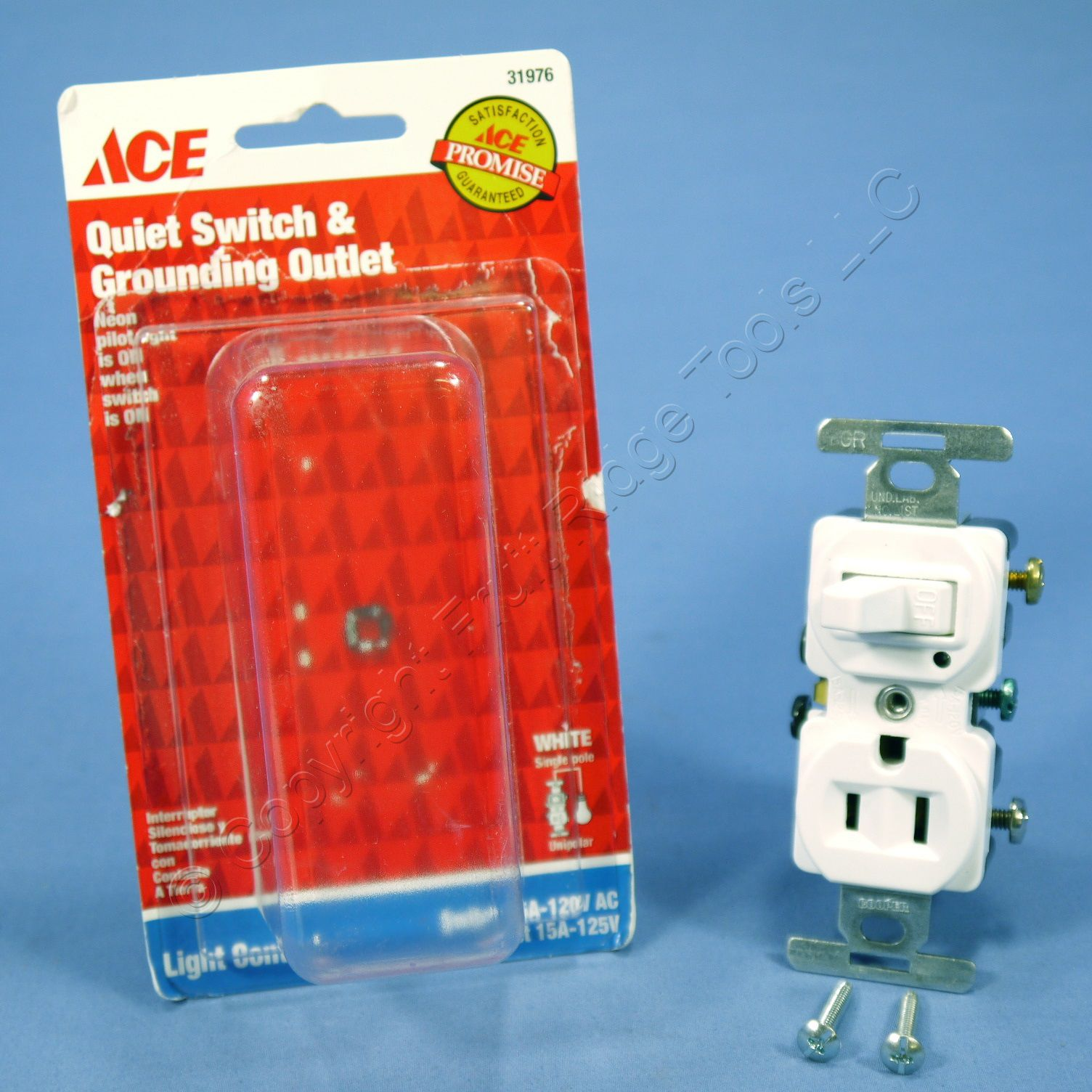 Ace White Pilot Light Toggle Switch Wall Outlet Receptacle 31976 eBay
