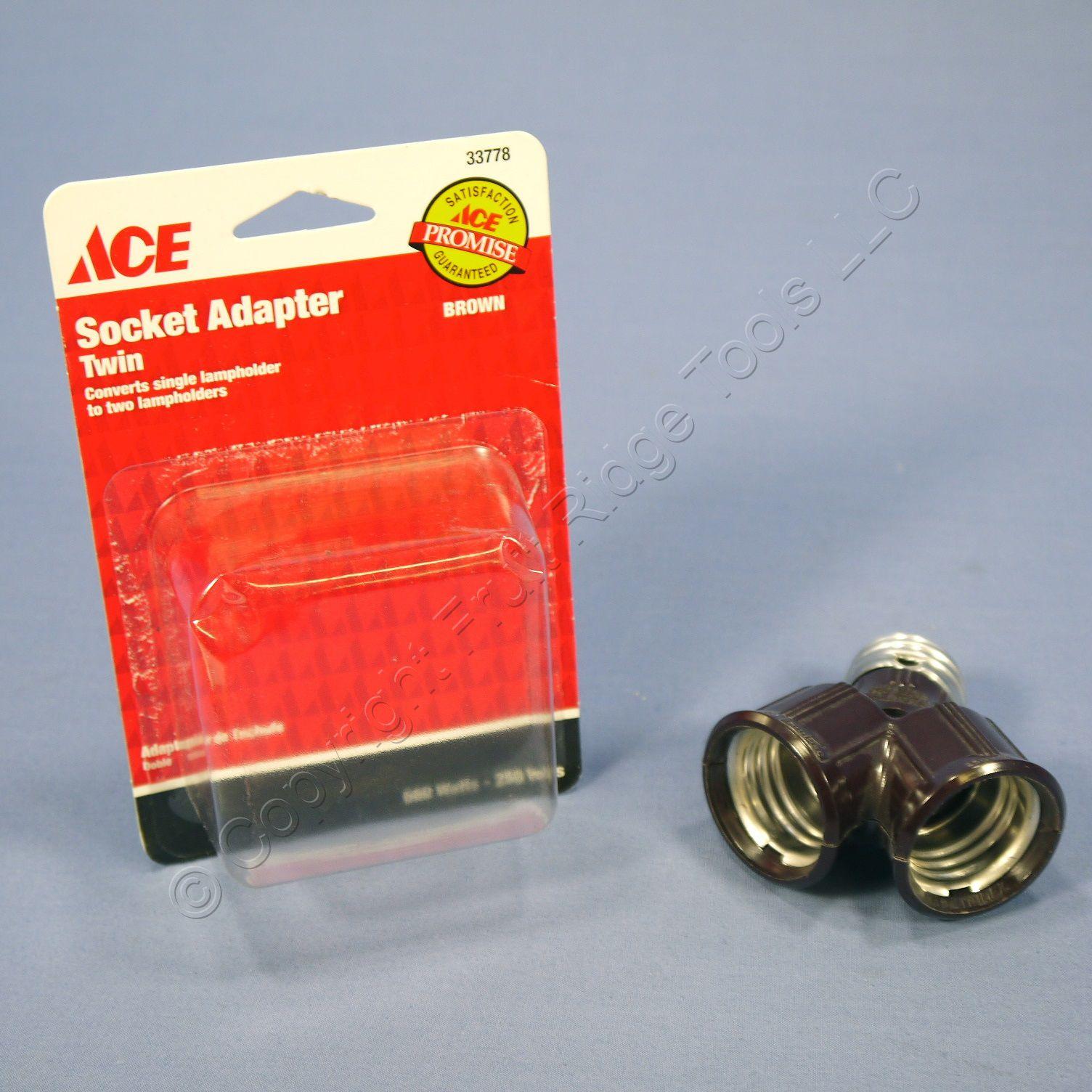 Ace Brown Twin Light Bulb Socket Lampholder Y Adapter