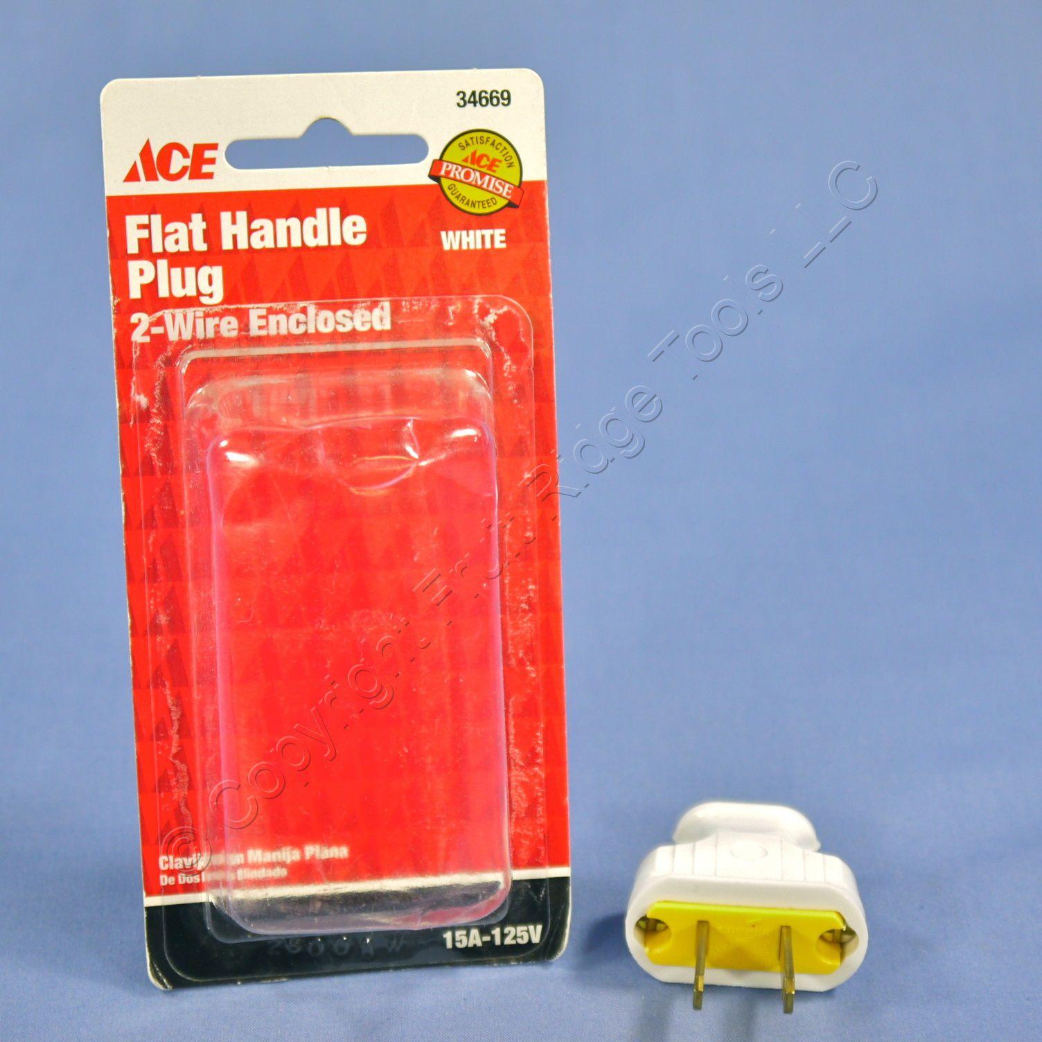 Ace Residential White EZ Grip Flat Plugs NEMA 1-15P 1-15 15A 125V 34669-W