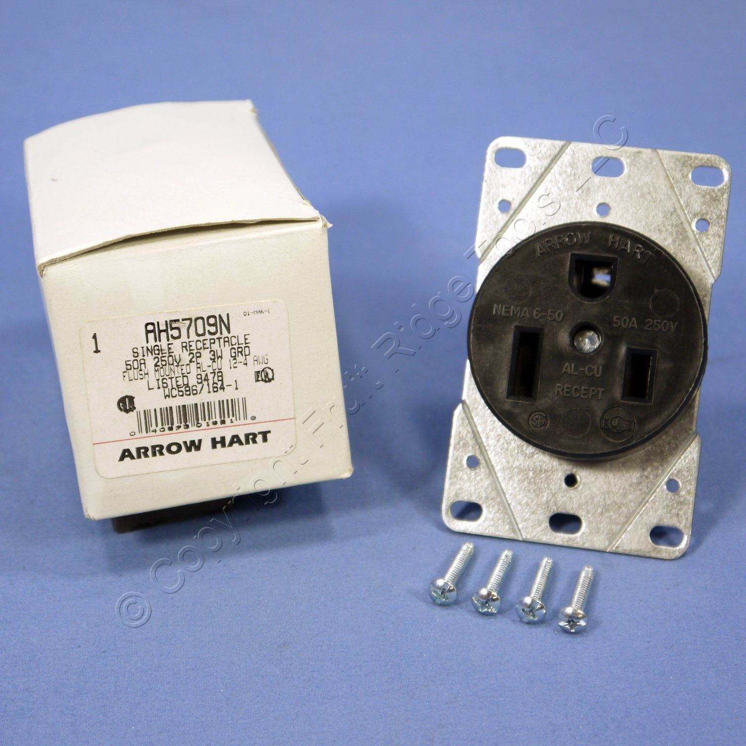 Arrow Hart Welder Outlet Receptacle 6 50 50a 250v Nema 50r 5709n Wiring Devices