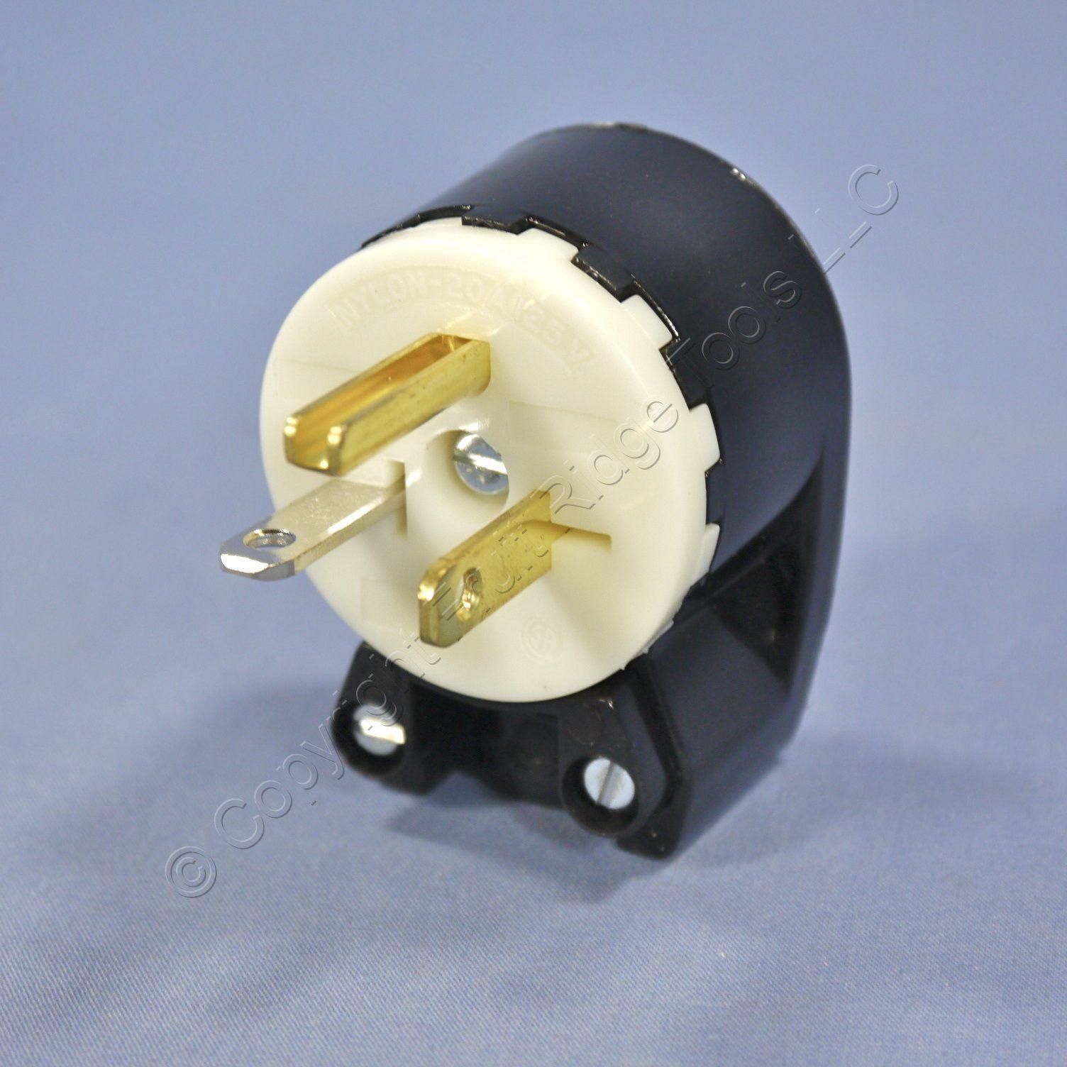 Bryant Black INDUSTRIAL Straight Blade ANGLED Plug NEMA 5-20P 5-20 20A 125V 5395