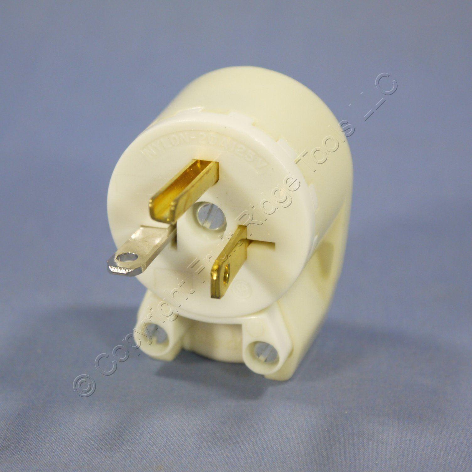 Bryant White INDUSTRIAL Straight Blade ANGLED Plug NEMA 5-20P 5-20 20A 125V 5395