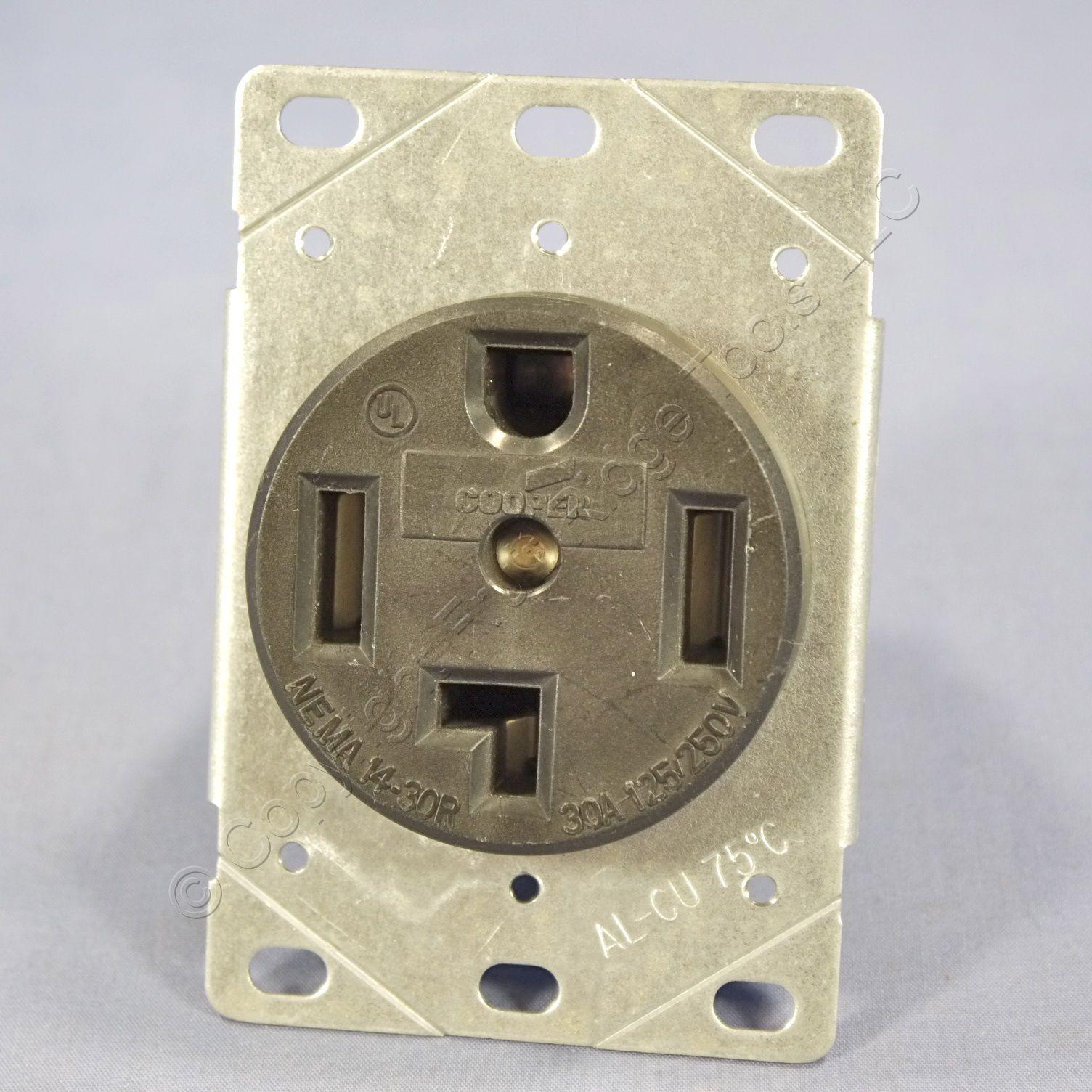 cooper receptacle outlet dryer oven range stove 14 30r 30a 125 250v bulk 1257 ebay