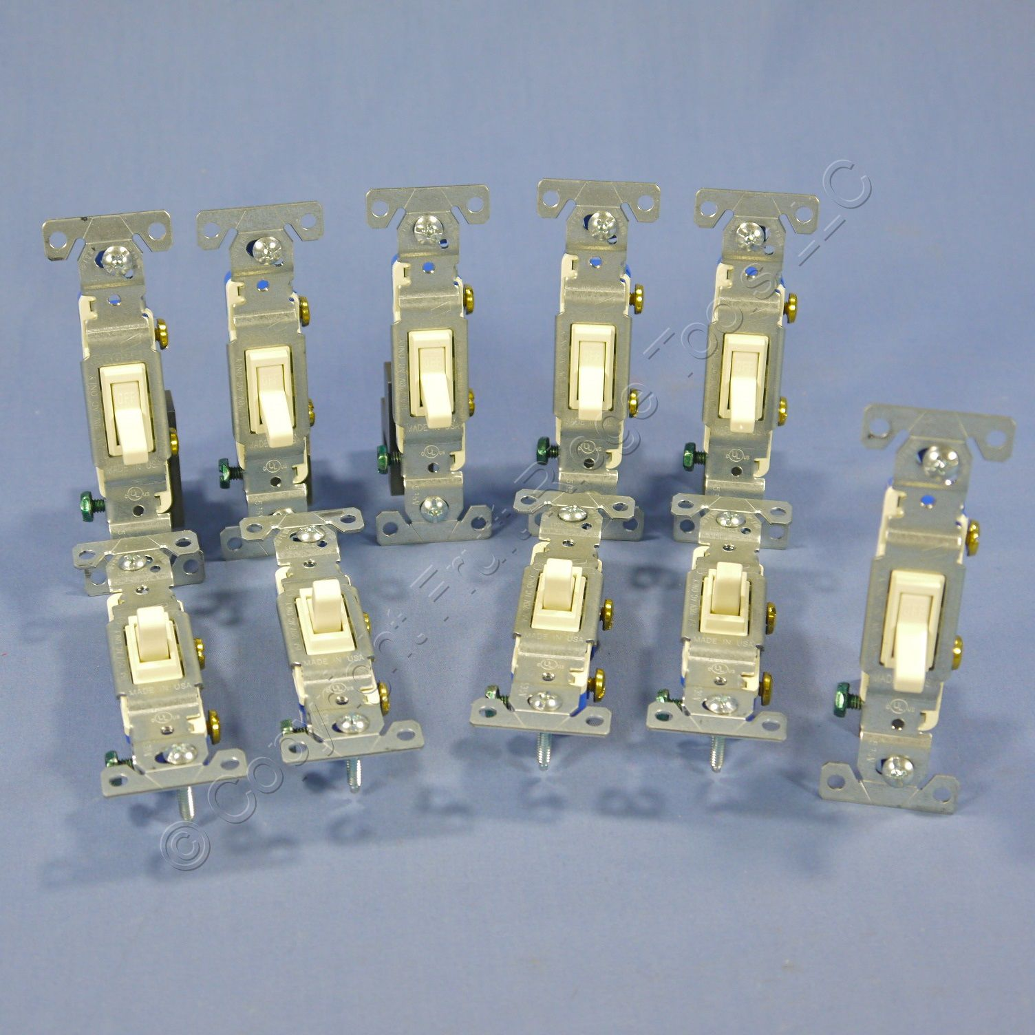10 Cooper Almond Toggle Wall Light Switches Quiet Single Pole 15A 120V 1301-7A