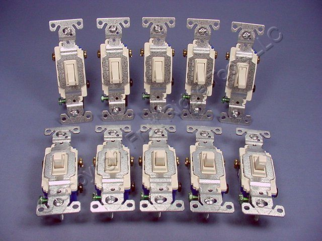 10 Cooper Wiring Devices Light Almond Toggle Wall Light Switches 3-WAY Quiet 15A 120V 1303-7LA
