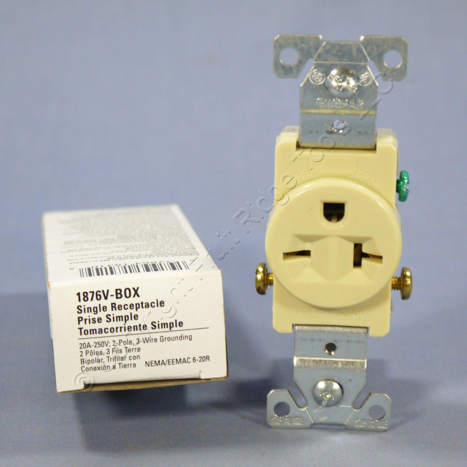 cooper ivory commercial single outlet receptacle nema 6. Black Bedroom Furniture Sets. Home Design Ideas