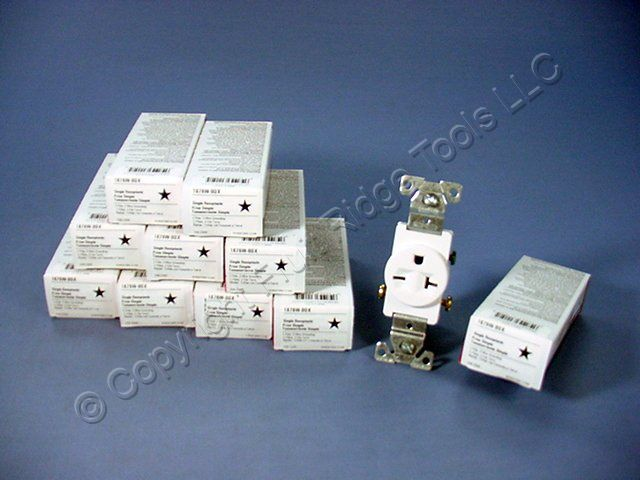 10 Cooper White COMMERCIAL Single Outlet Receptacles NEMA 6-20R 250V 20A 1876W