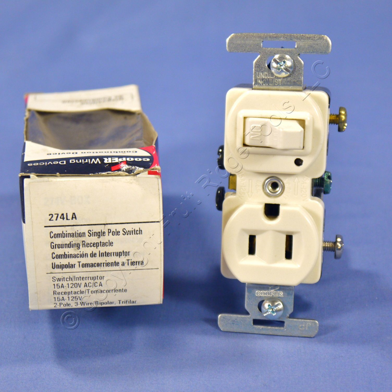Cooper Light Almond Pilot Light Wall Switch  U0026 Outlet Receptacle 15a 274la