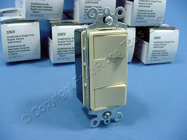 10 Cooper Ivory DOUBLE Rocker Switches Decorator Single Pole 3282V