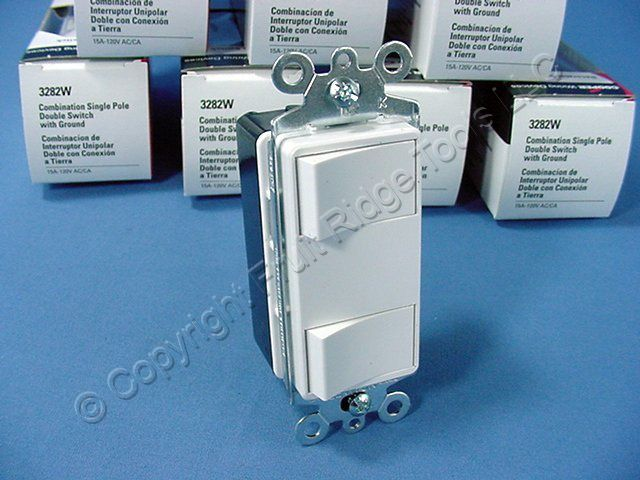 10 Cooper White DOUBLE Rocker Switches Decorator Single Pole 3282W