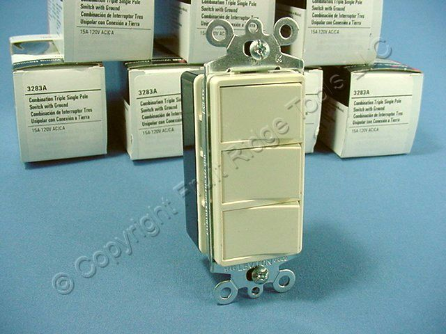 10 Cooper Almond TRIPLE Rocker Switches Decorator Single Pole 3283A