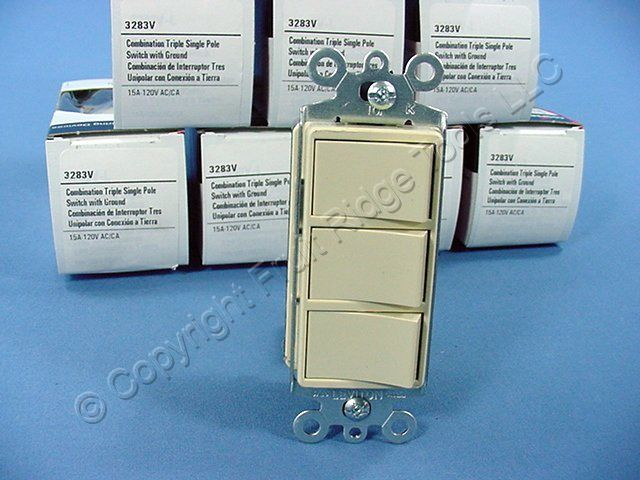 10 Cooper Ivory TRIPLE Rocker Switches Decorator Single Pole 3283V