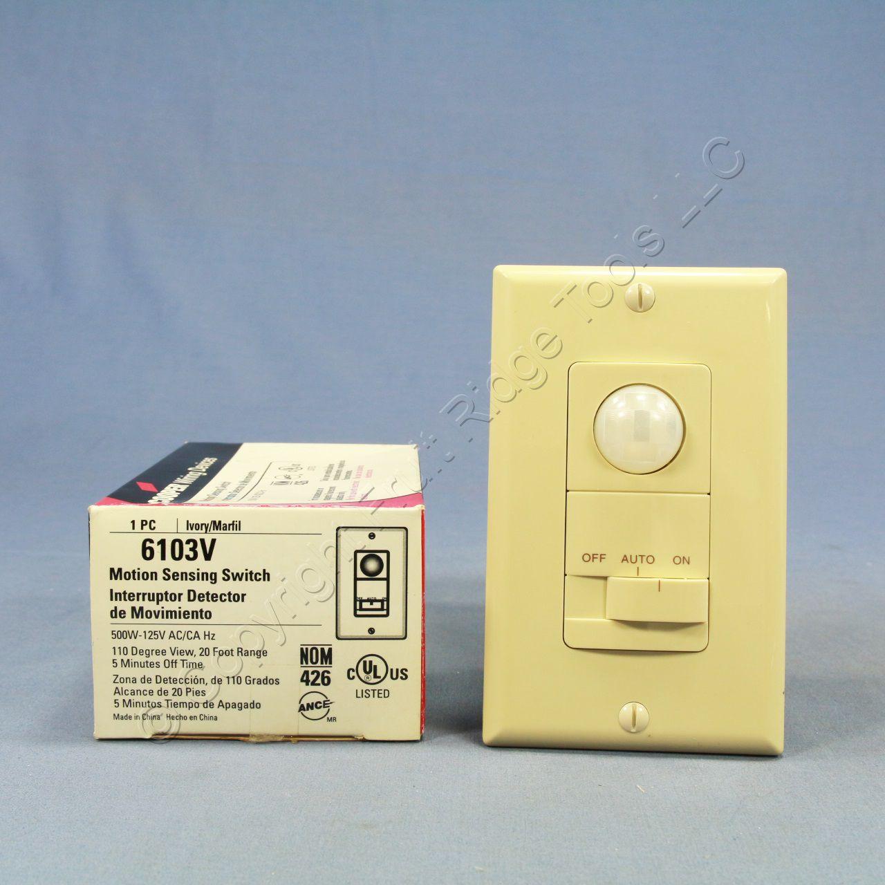 cooper ivory 110 wallbox occupancy motion sensor wall light switch 1 pole 6103v. Black Bedroom Furniture Sets. Home Design Ideas