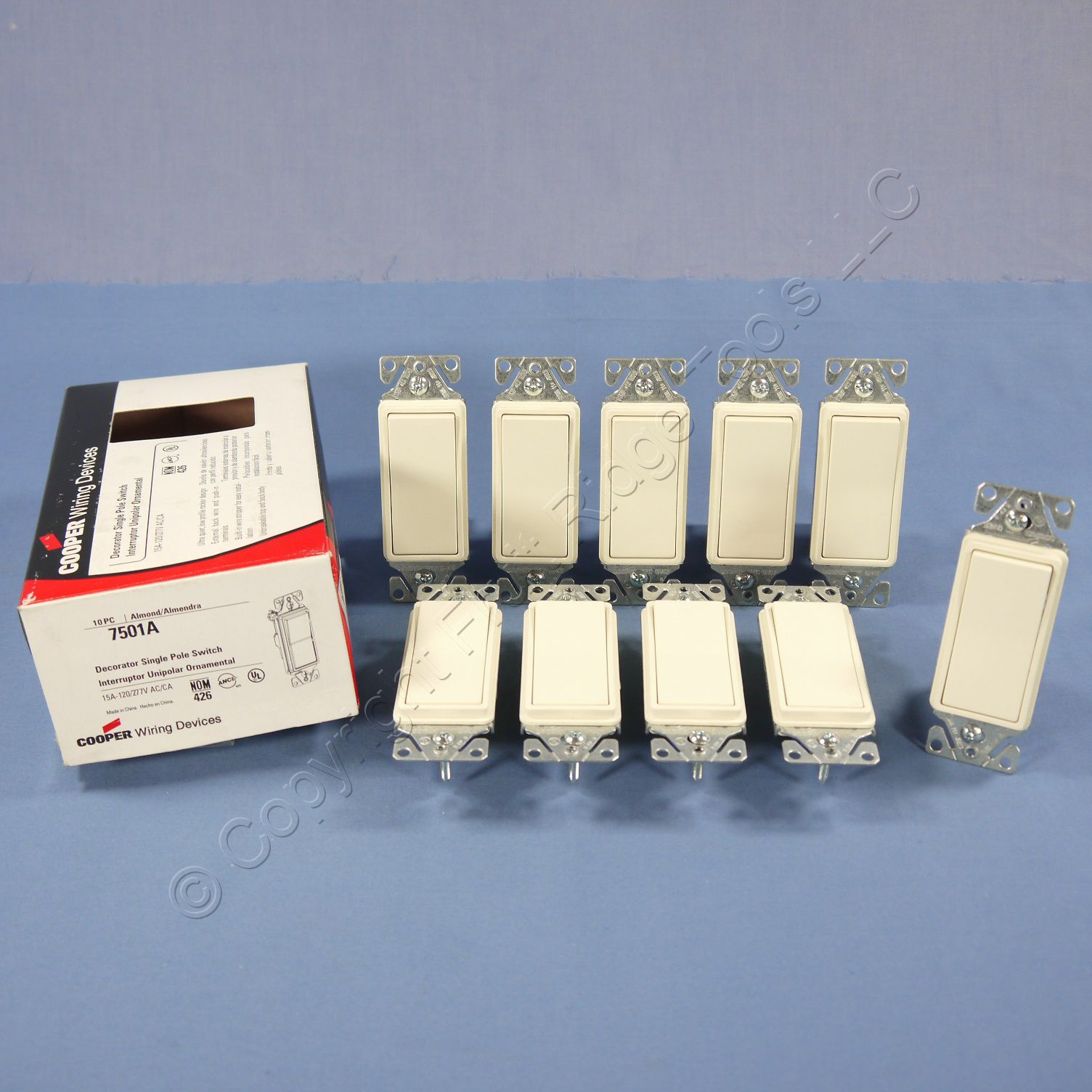 10 Cooper Almond Decorator Rocker Wall Light Switches 15A Single Pole 7501A
