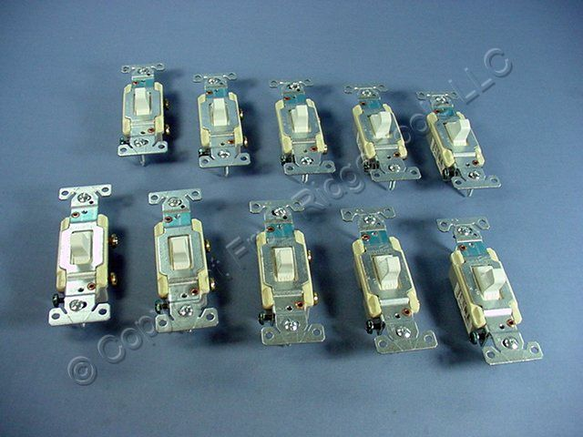 10 Cooper Electric White COMMERCIAL Toggle Wall Light Switches 15A CS115W