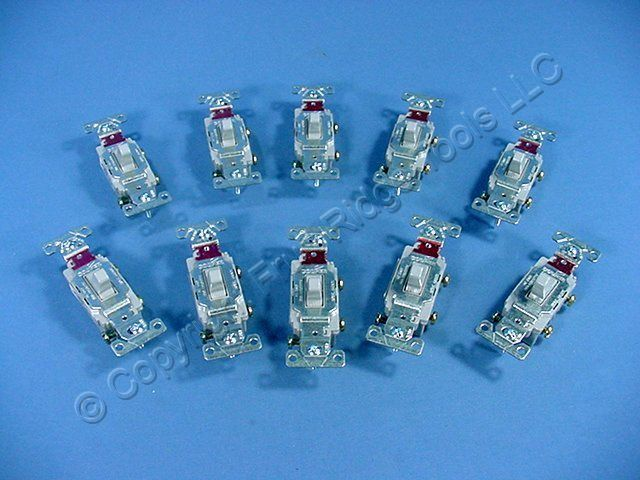 10 Cooper Wiring Gray COMMERCIAL Toggle Wall Light Switches 20A CS120GY