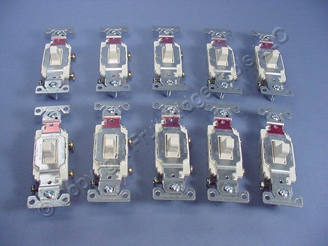 10 Cooper Wiring Light Almond COMMERCIAL Toggle Wall Light Switches 20A CS120LA