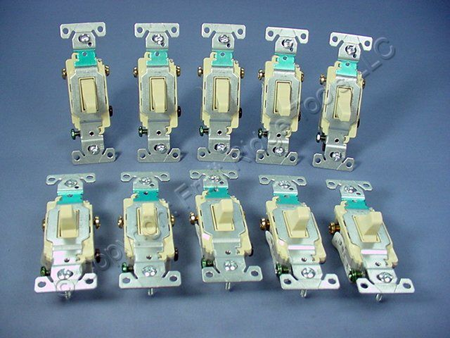10 Cooper Electric Ivory COMMERCIAL Toggle Wall Light Switches 3-WAY 15A CS315V
