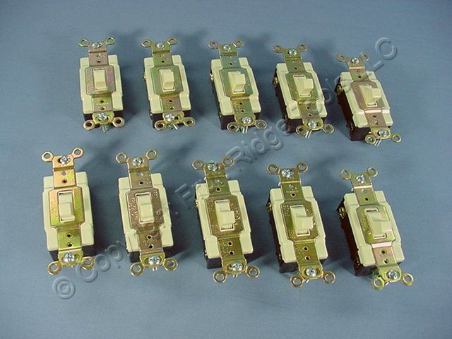 10 Cooper Electric Ivory COMMERCIAL Toggle Switches 20A CSB120V