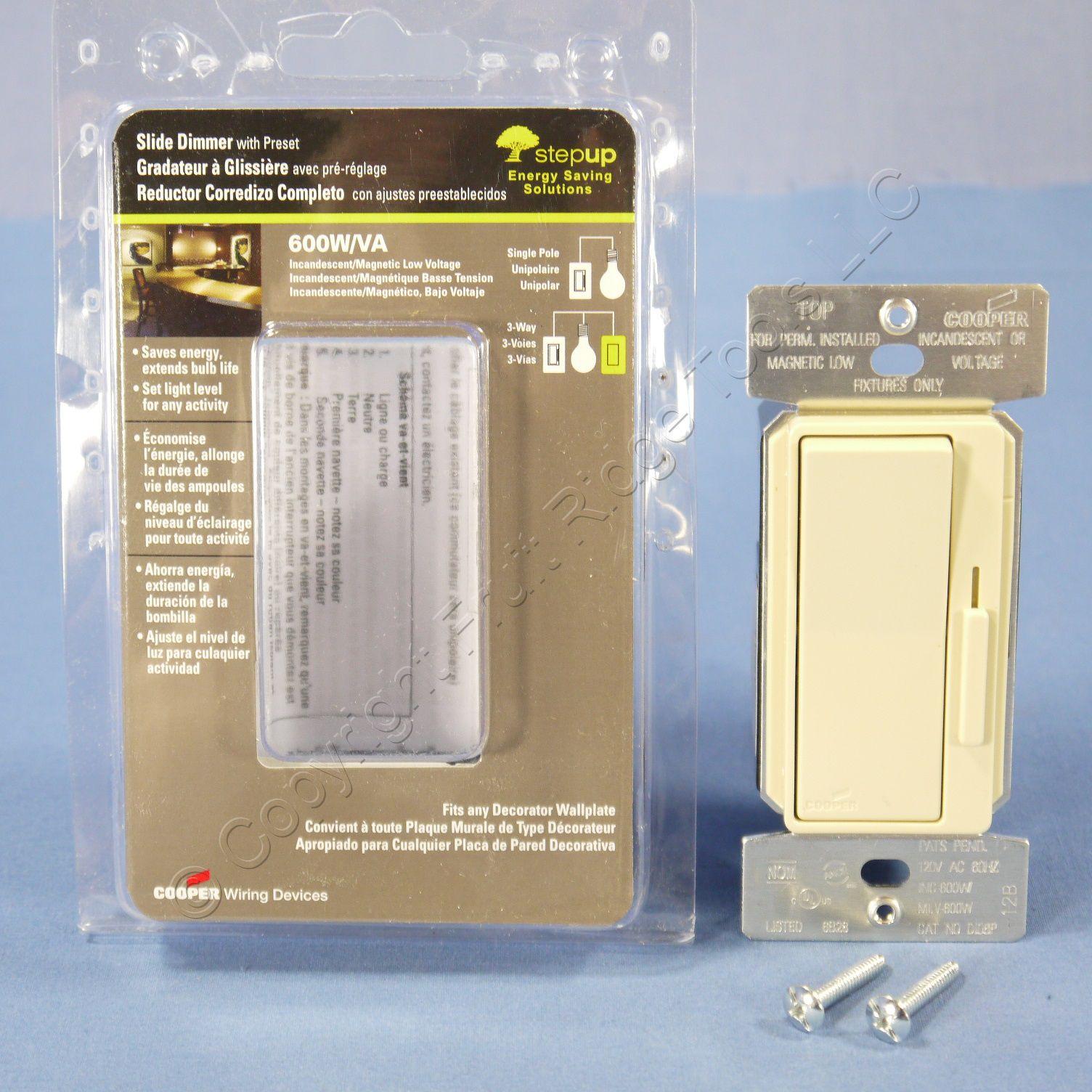 Cooper ivory single pole multi way decorator slide for 120 volt magnetic door switch