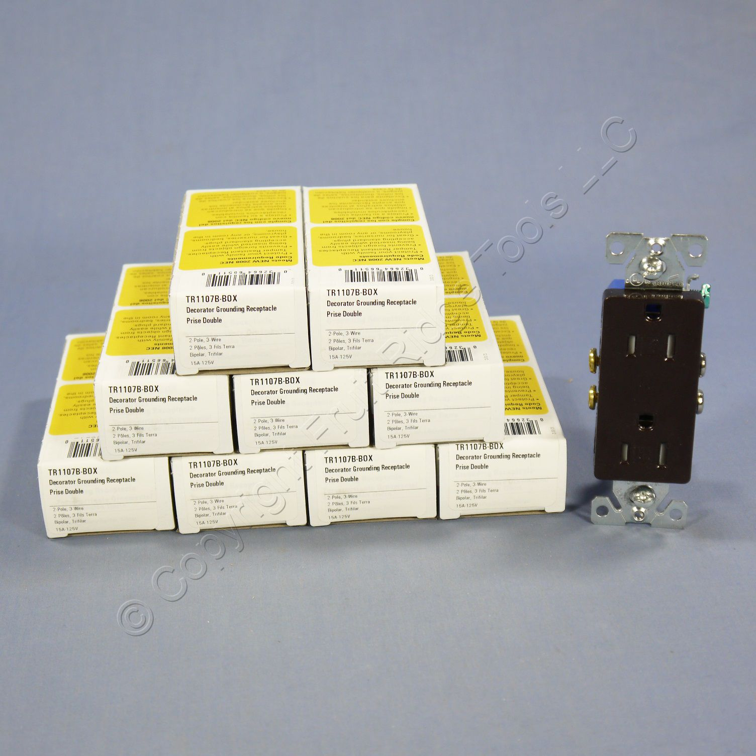 10 Cooper Brown TAMPER RESISTANT Decorator Receptacle Outlets NEMA 5-15 15A TR1107B
