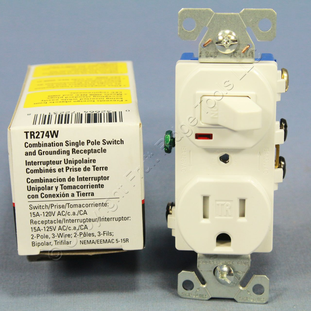 cooper white tamper resistant toggle light switch outlet
