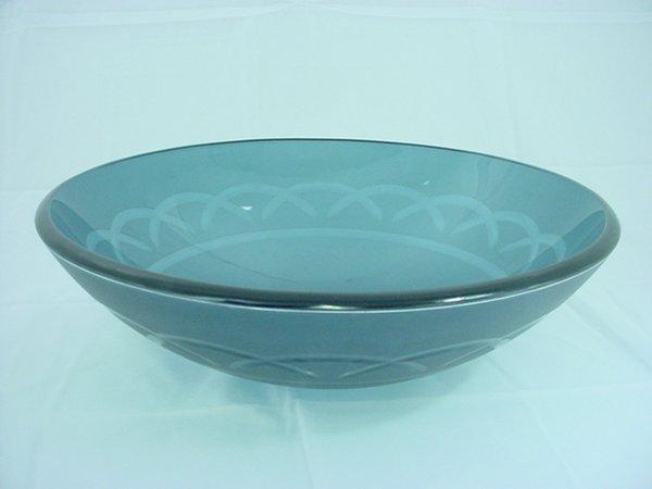 ... Blue Etched Art Glass Vessel Sink Bathroom Vanity Bowl 1020-BL eBay