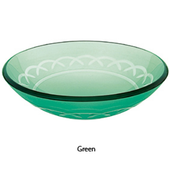 Decolav Green Etched Art Glass Vessel Sink Bathroom Vanity Bowl 1020 Gr Ebay