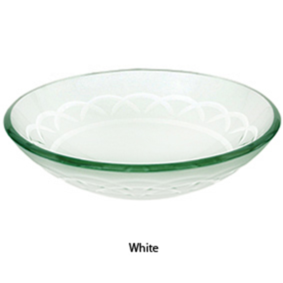 Glass Vessel Bowls : ... White Etched Art Glass Vessel Sink Bathroom Vanity Bowl 1020-WH eBay