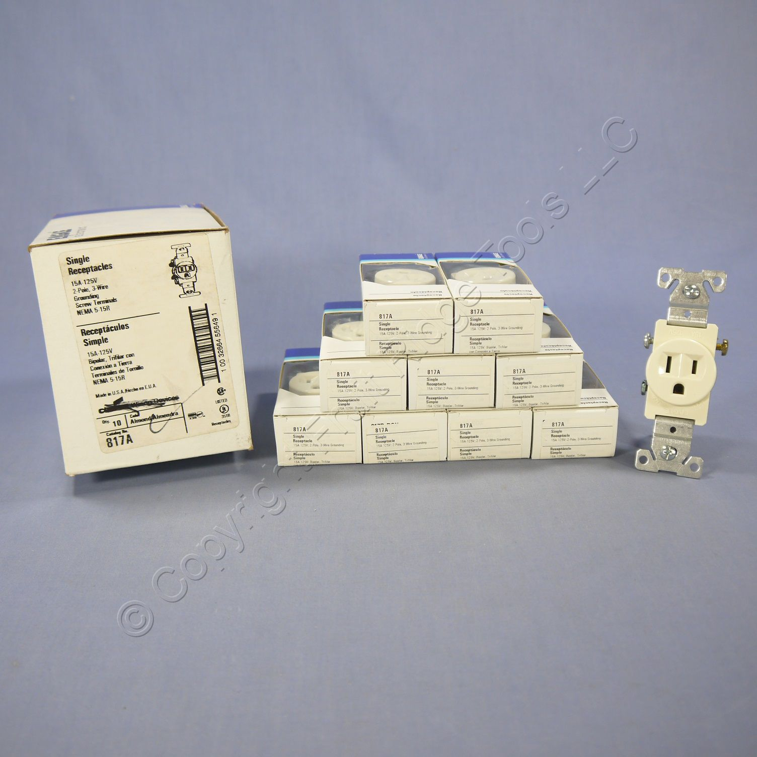 10 Eagle Almond COMMERCIAL Single Outlet Receptacles 15A 817A