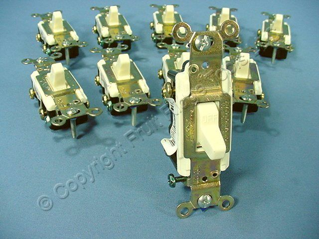 10 Eagle Electric Almond COMMERCIAL DOUBLE POLE Toggle Wall Light Switches 20A CS220A