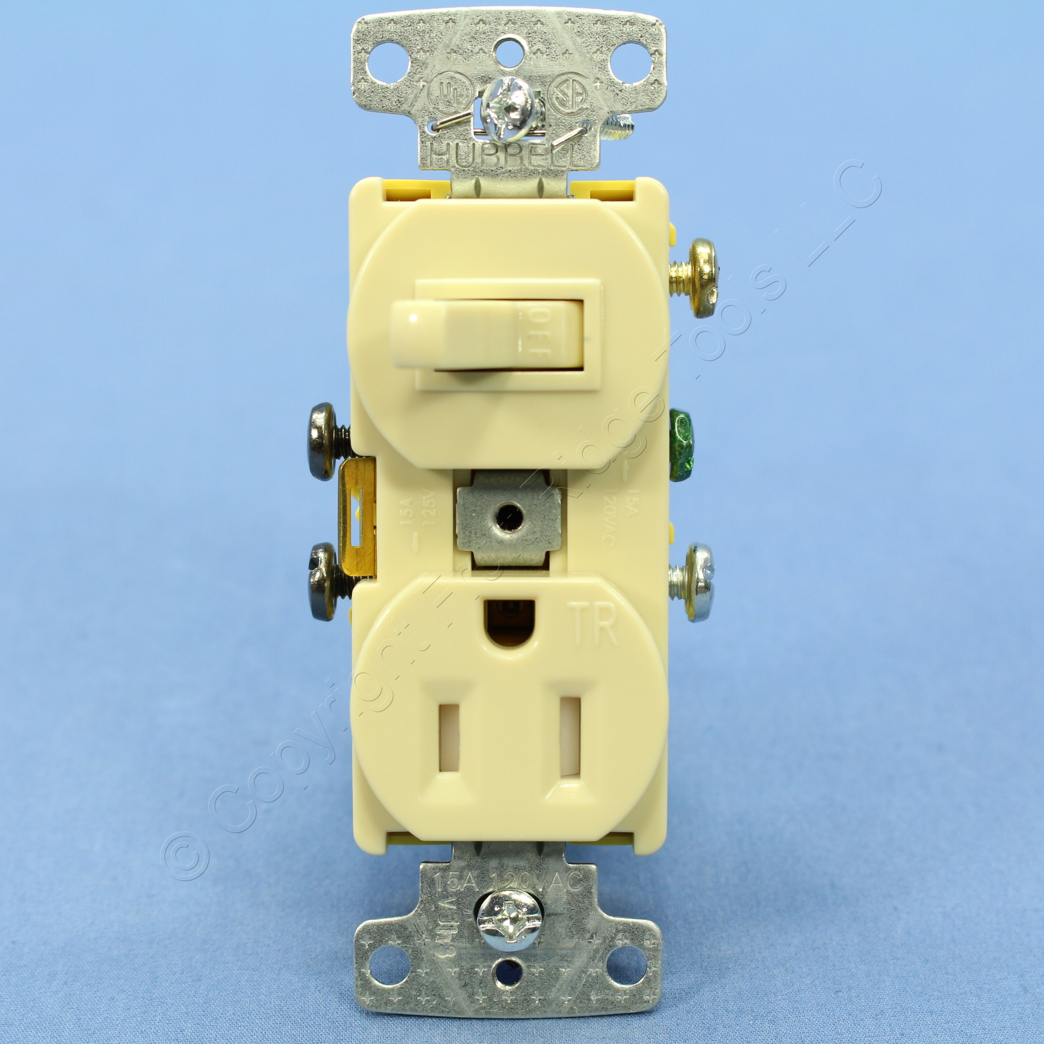 Hubbell Ivory Combo Light Switch Tamper Resistant Outlet Receptacle 15a Rc108itr