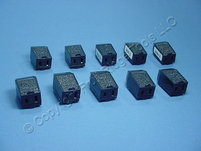 10 Leviton Black 1-15 Straight Blade Connector Plugs NEMA 1-15R 15A 125V 102-E