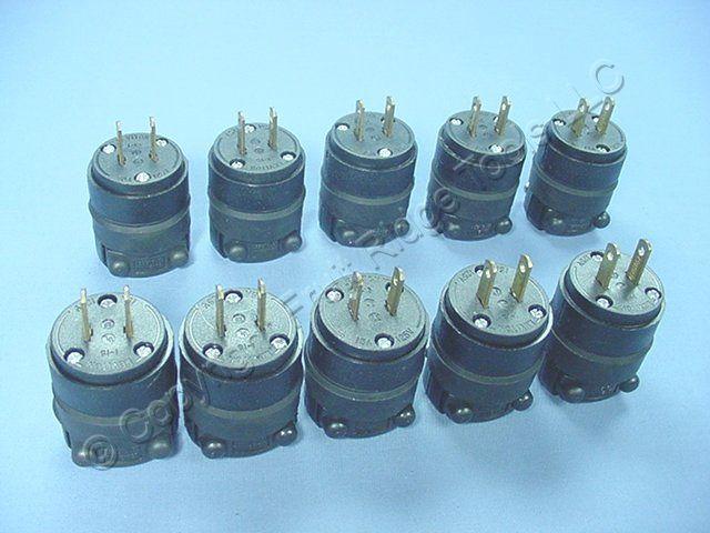 10 Leviton Non-Polarized Rubber Plugs Cord Ends NEMA 1-15 1-15P 15A 125V 115PR
