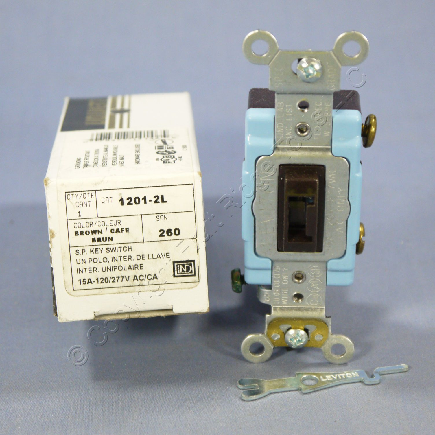 Tamper Proof Light Switch Key: New Leviton Brown INDUSTRIAL Locking Keyed Light Switch Tamper Resistant  1201-2L - Fruit Ridge Tools, LLC,Lighting
