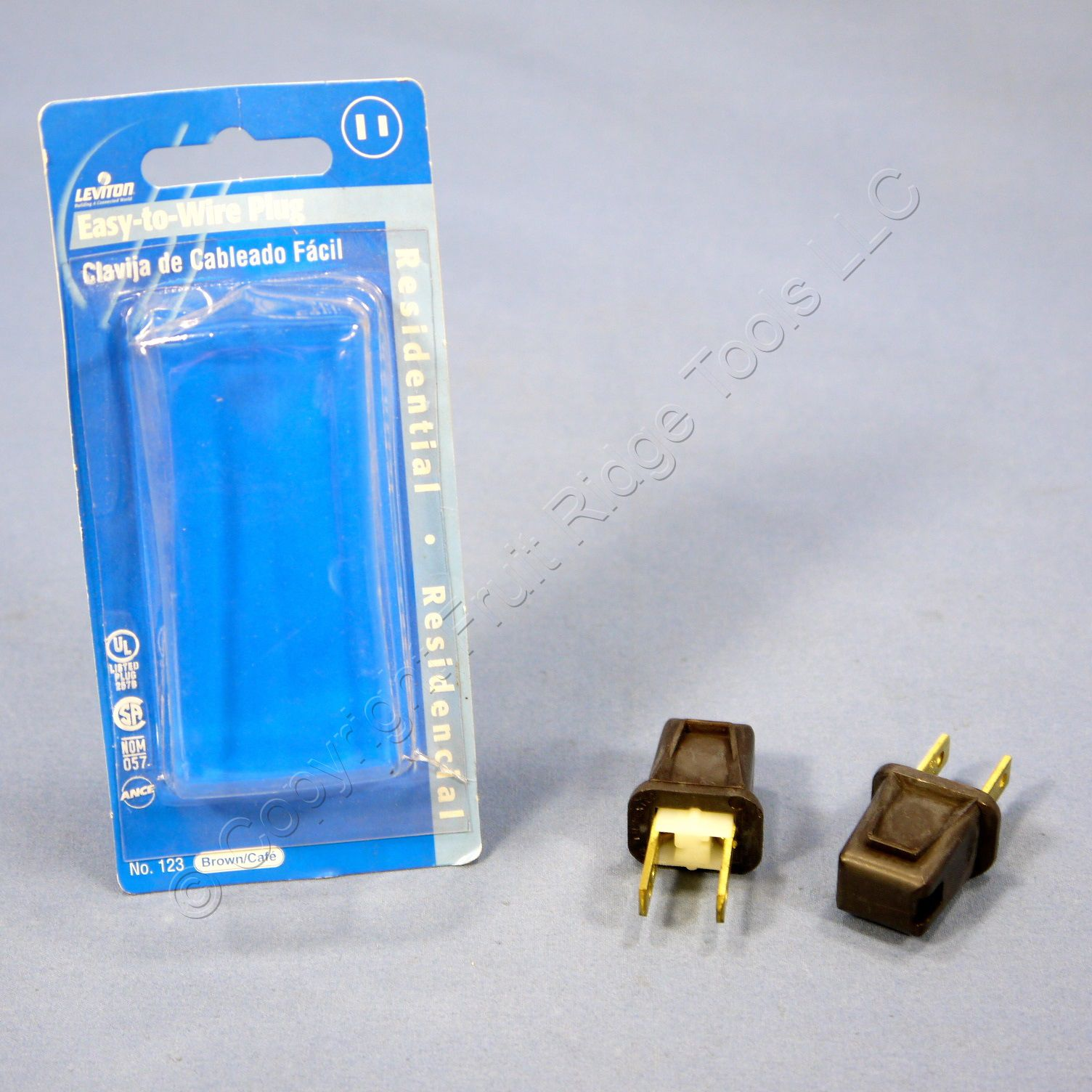 2 Leviton Brown 1-15 Straight Blade Plugs 2-Prong NEMA 1-15P Non-Polarized 10A 125V 123