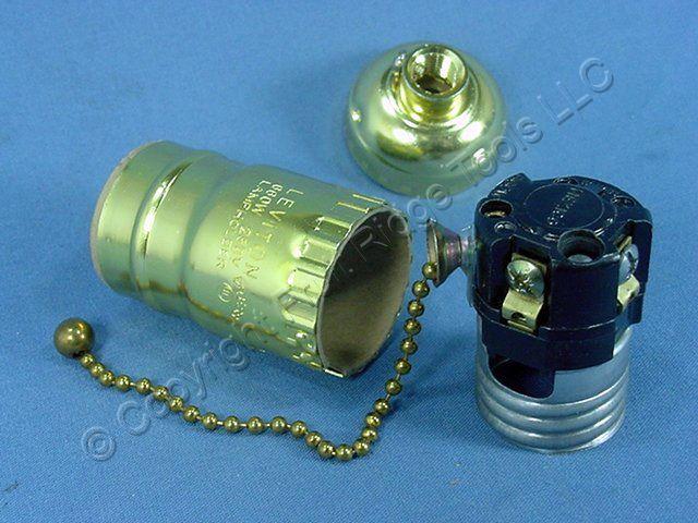 Leviton Brass Pull Chain Lamp Light Socket Lamp Holder