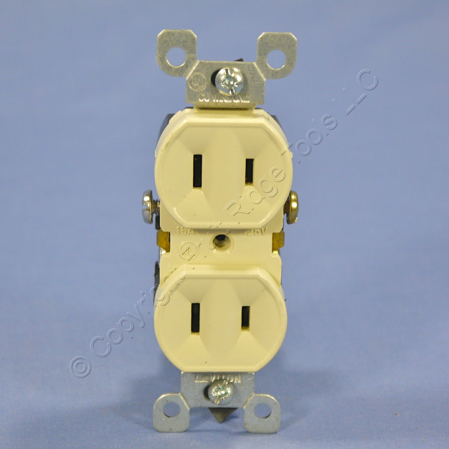 Leviton Ivory 1-15 Duplex Outlet Receptacle Non-Grounded NEMA 1-15R 15A 125V 223-I