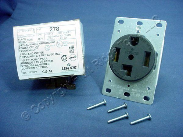 Leviton Flush Mount Receptacle Outlet Dryer Oven Range Stove 14-30 30A 125/250V 278 at Sears.com