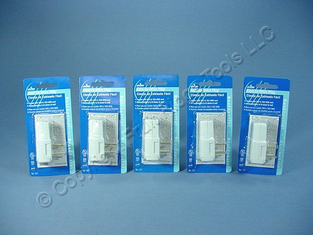 5 Leviton SIDE MOUNT RIGHT ANGLE Easy-Wire Plugs 15A 1-15P Non-Polarized 321-W