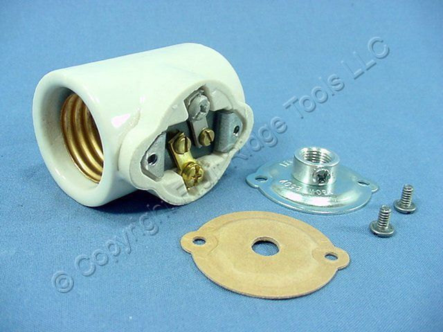 Satco 81081 Twin 2 Circuit Porcelain Medium Screw E26 Base Socket