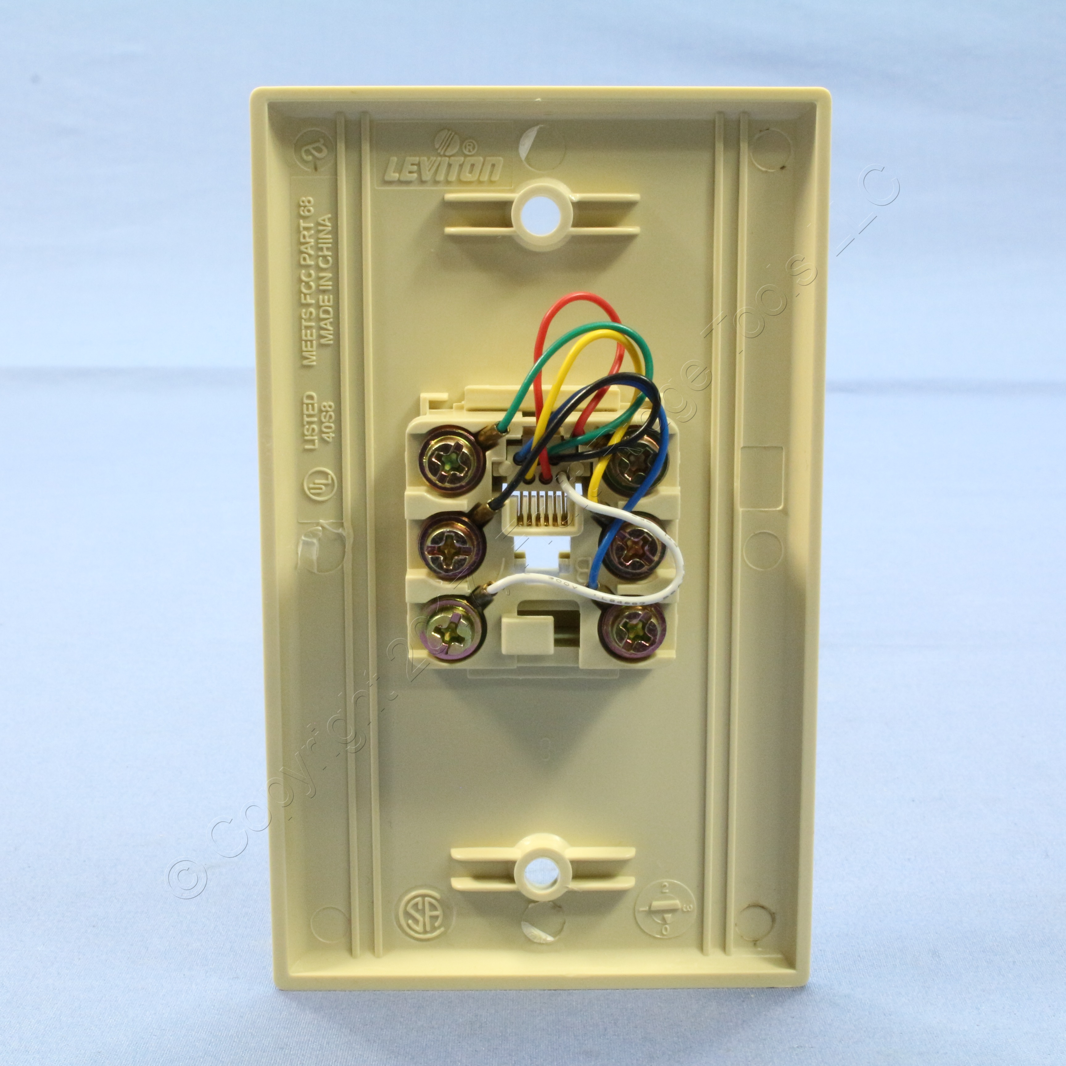 leviton ivory 6 wire modular jack telephone wall plate wall mount phone jack wiring Antique Phone Wiring Diagram