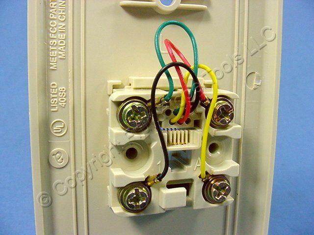 leviton ivory phone jack wall plate 4 wire telephone 40249 Old Phone Wiring Diagram wall phone jack wiring color connection