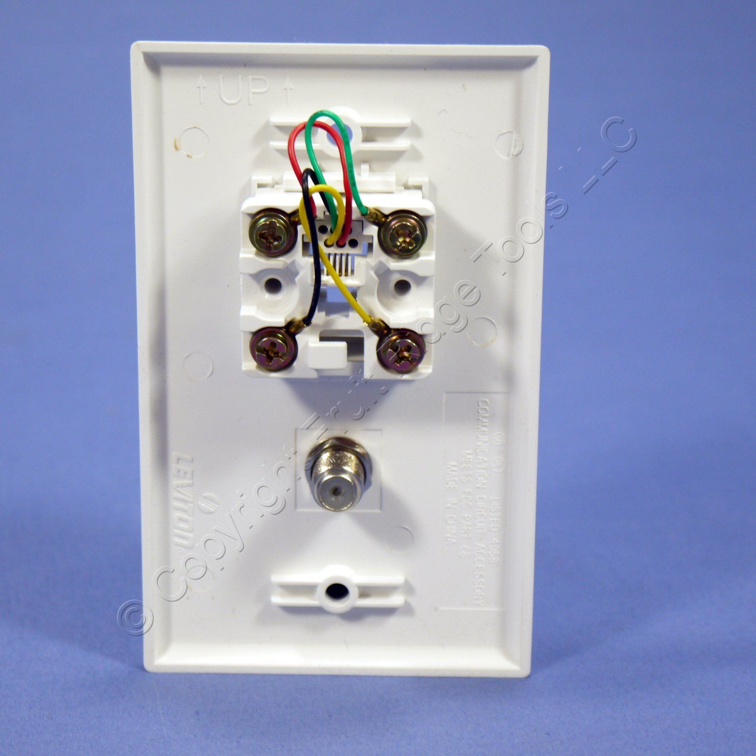 leviton white phone cable catv video jack wall plate ... leviton phone jack wiring leviton rj11 jack wiring diagram