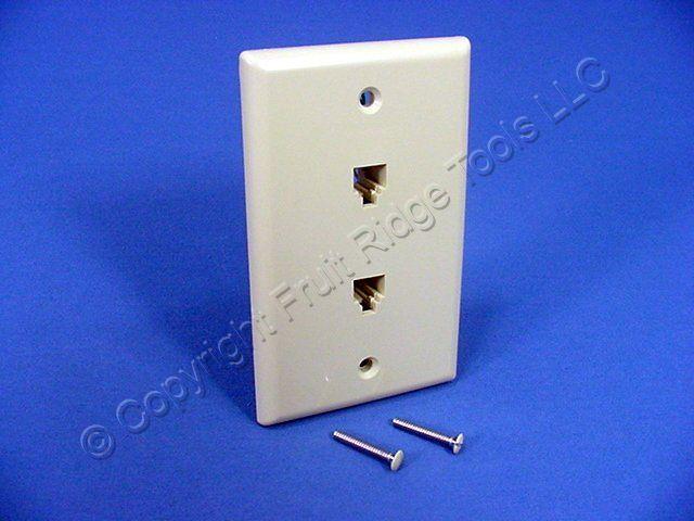 leviton phone jack wiring leviton ivory duplex phone jack wall plate 6-wire ... #11