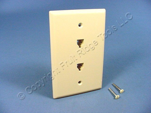 leviton ivory duplex phone jack large midway wall plate 4. Black Bedroom Furniture Sets. Home Design Ideas
