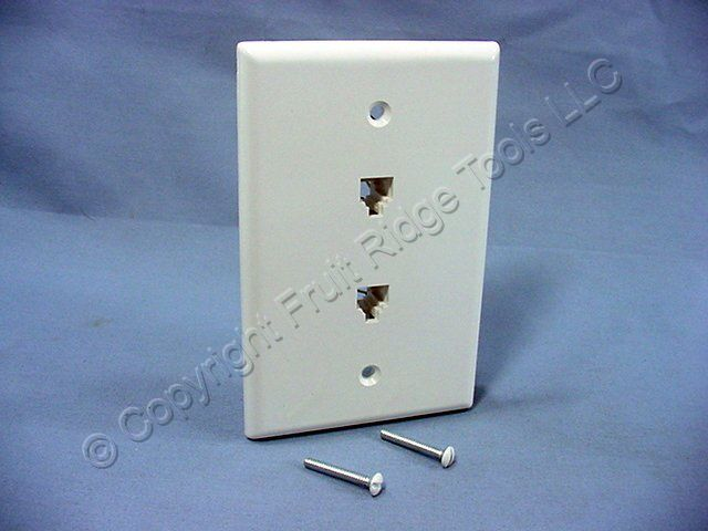 leviton white duplex phone jack large midway wall plate 6. Black Bedroom Furniture Sets. Home Design Ideas