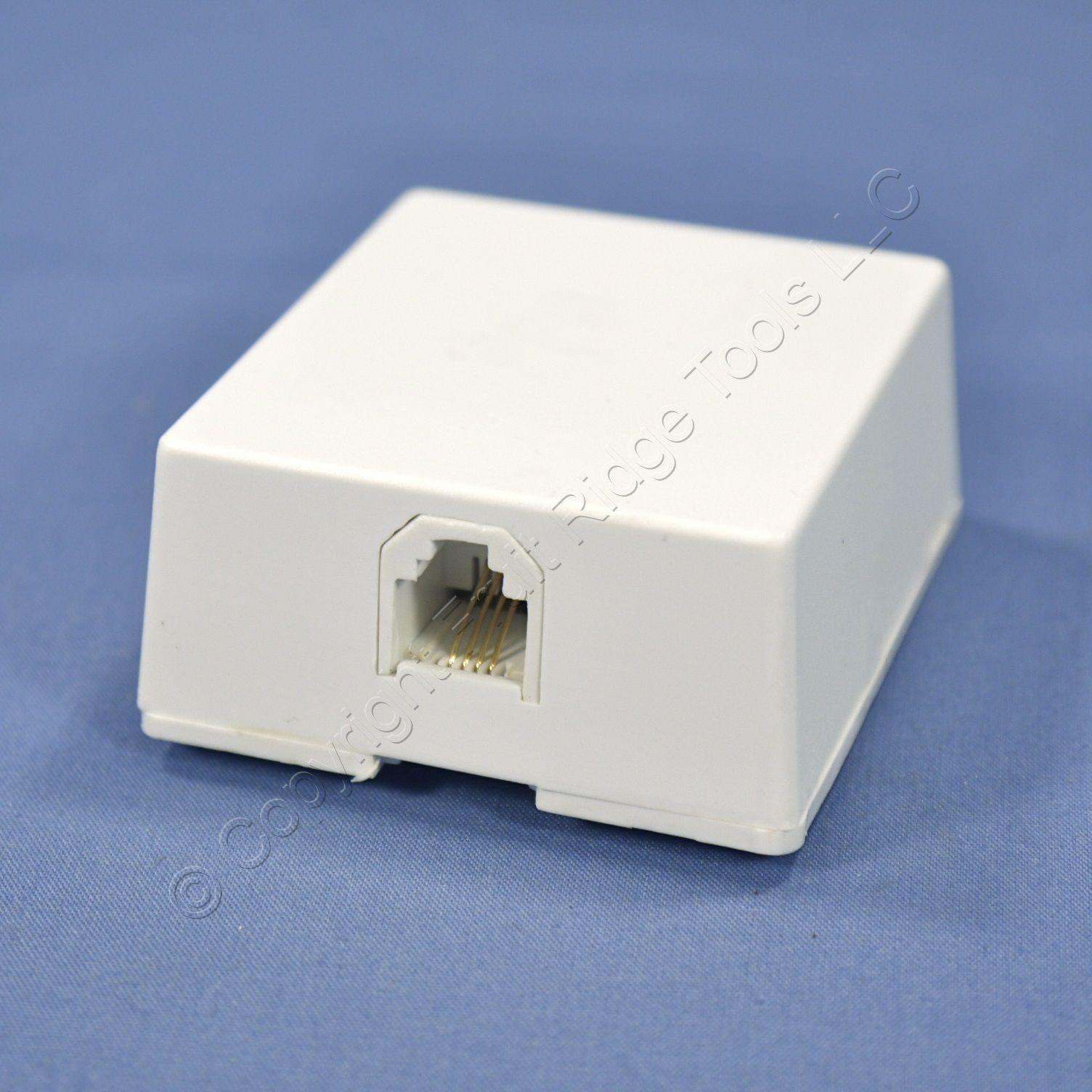 leviton white surface mount phone jack 4 wire telephone. Black Bedroom Furniture Sets. Home Design Ideas